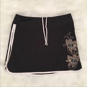 Athleta black white floral skort skirt mini 8